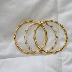 "Set of three gold ""bamboo"" bangles"